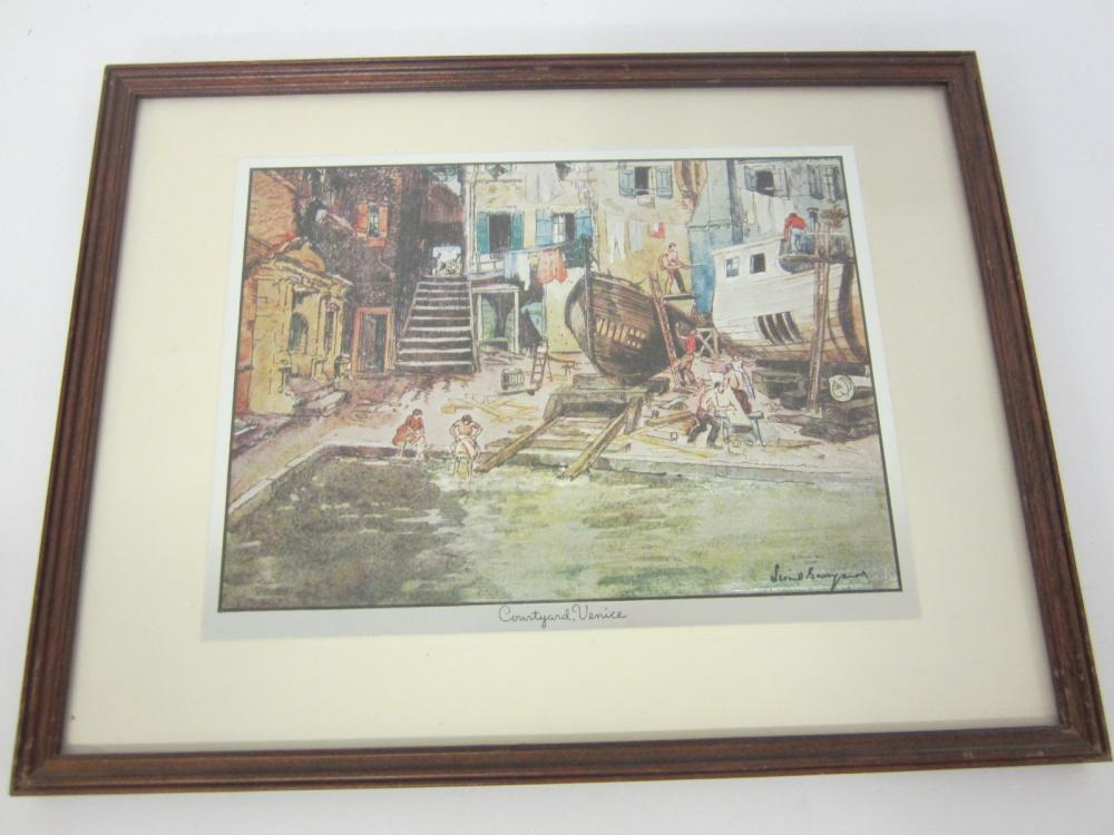 Vintage Venice Italy Courtyard framed matted 8x10 print