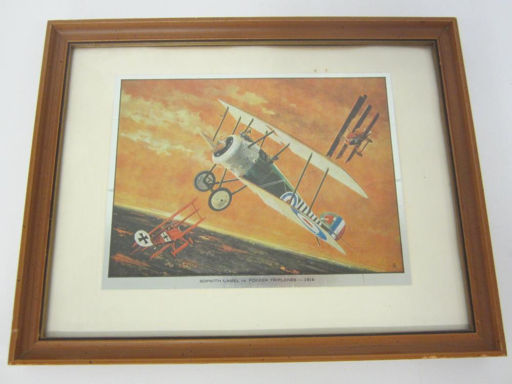 Vintage Sopwith Camel vs Fokker Triplanes framed matted 8x10 print