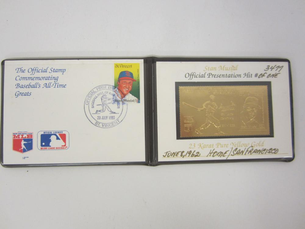 1989 Stan Musial Cardinals Gold Stamp / First Day Issue numbered to 3499