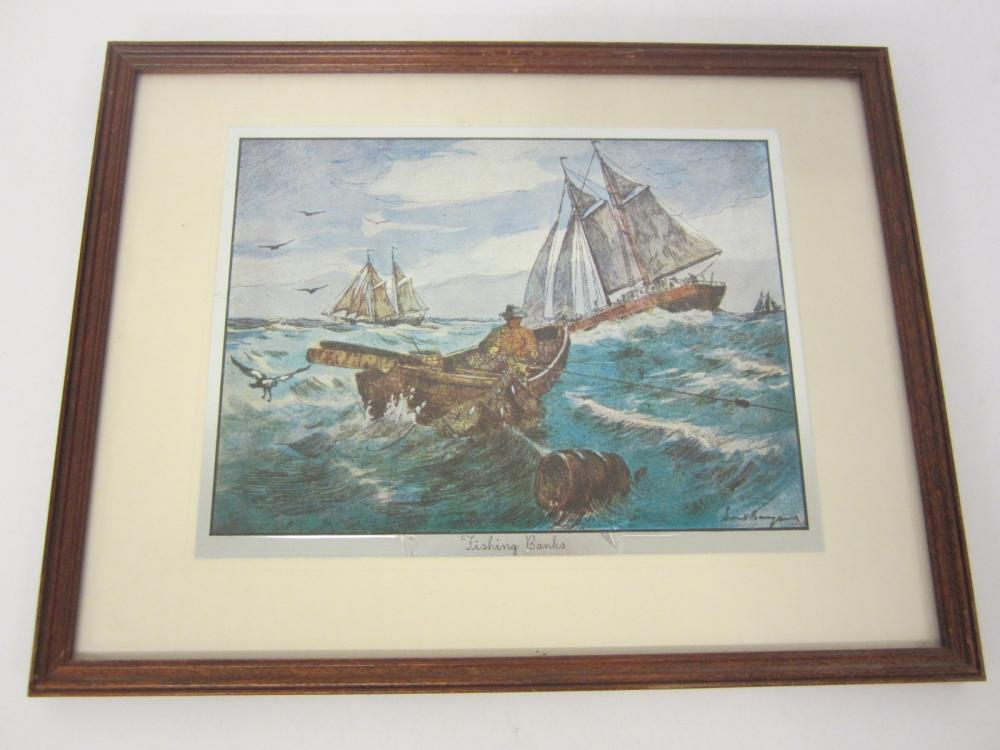Vintage Fishing Banks framed and matted 8x10 print