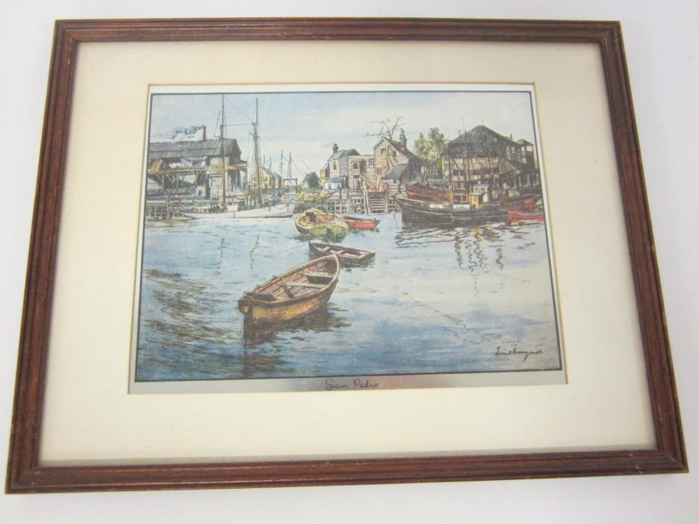 Vintage San Pedro California Harbor framed matted 8x10 print