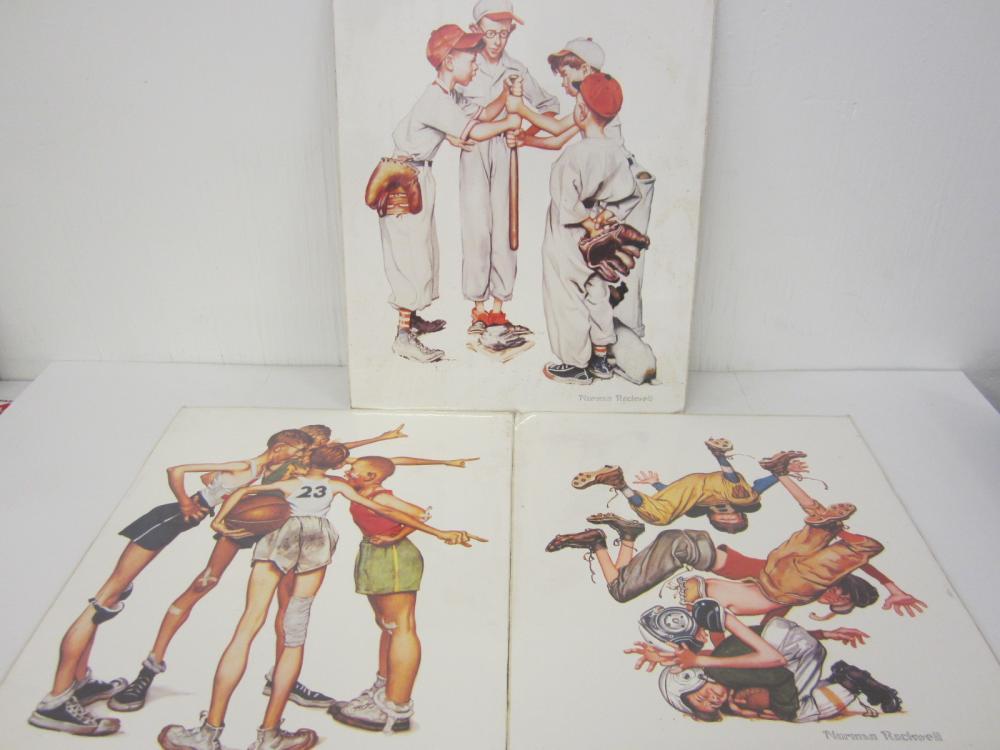 Norman Rockwell Baseball Basketball Football lot of 3 prints