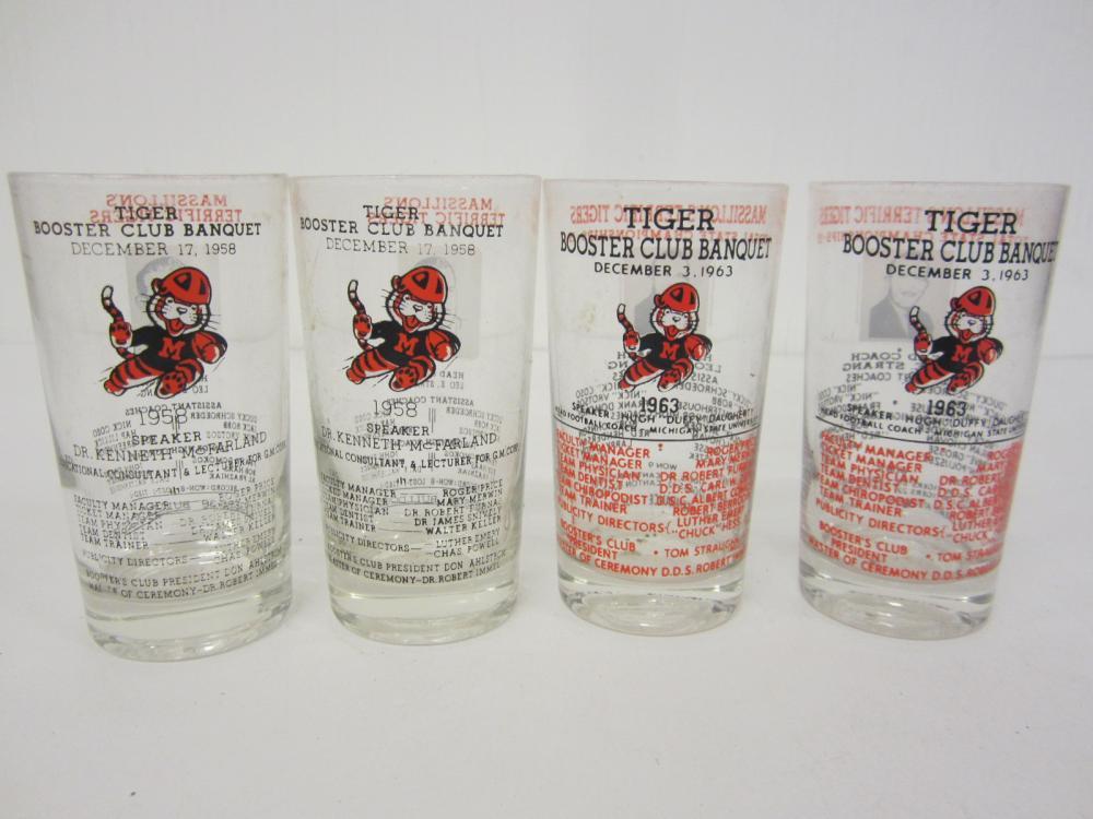 Vintage Massilon Tigers High School Drink Glasses (4) Leo Strang 1963