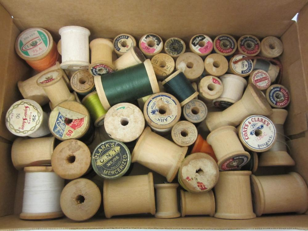 Vintage lot of Sewing thread and wooden spools
