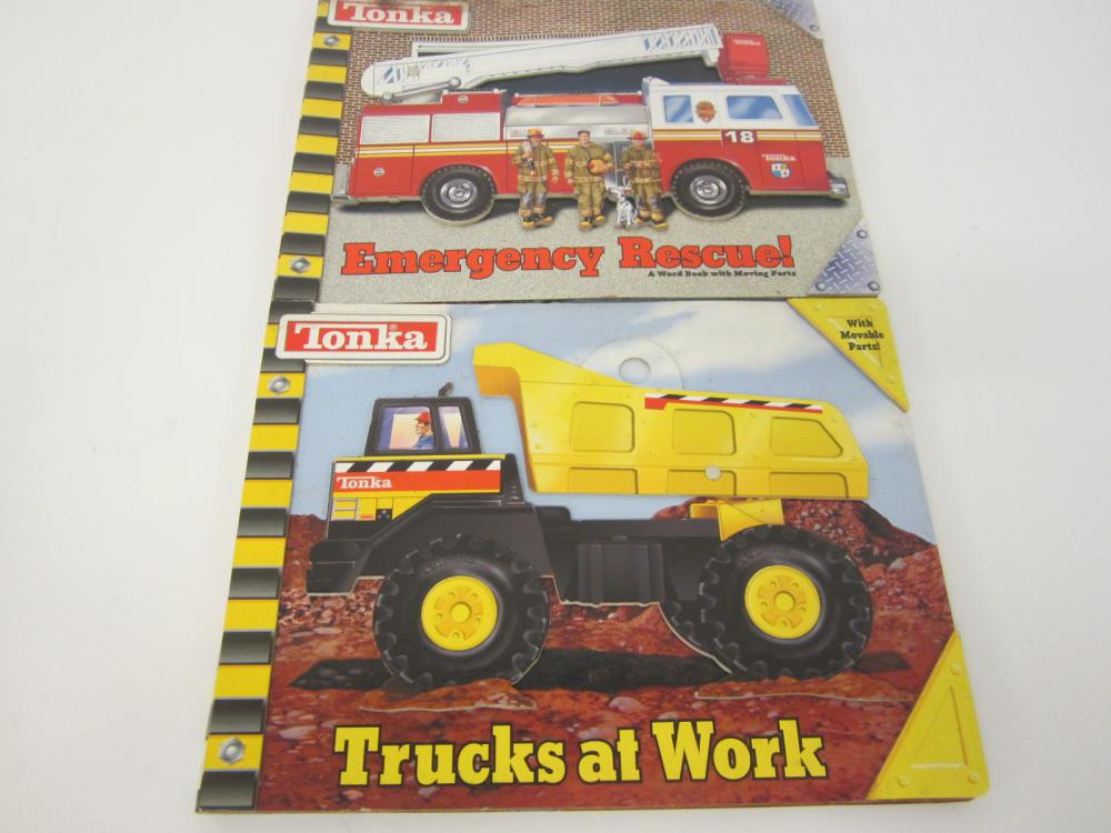 Tonka Emergency and Work Vehicles books with moving parts