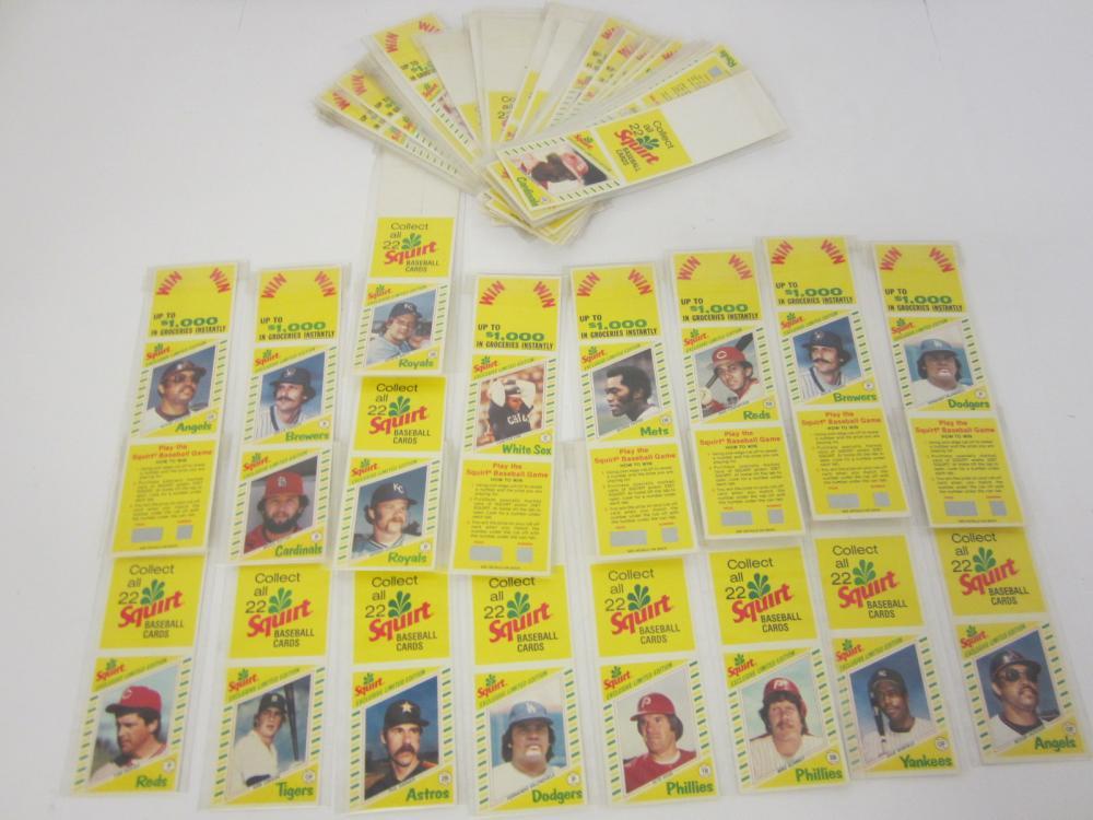 Huge Vintage lot of Squirt Soda Baseball Cards Pete Rose Fernando Valenzuela +Others
