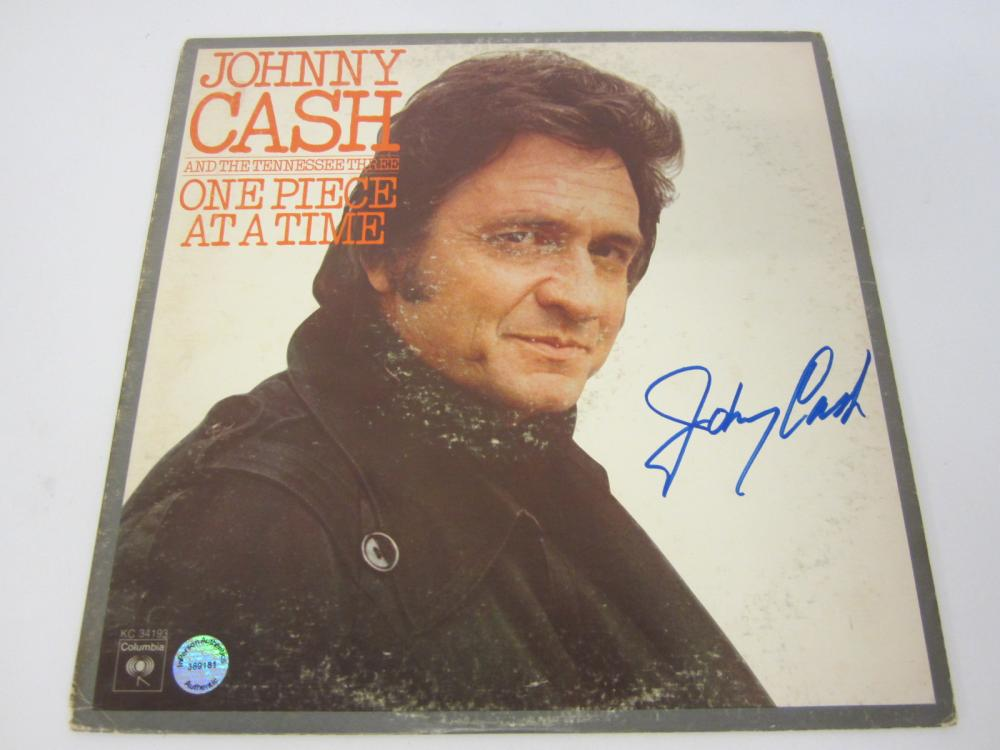 "Johnny Cash ""One Piece at a Time"" Signed Autographed record album Certified Coa"
