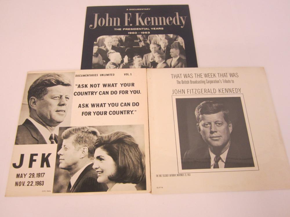 (3) John F Kennedy JFK record album collection
