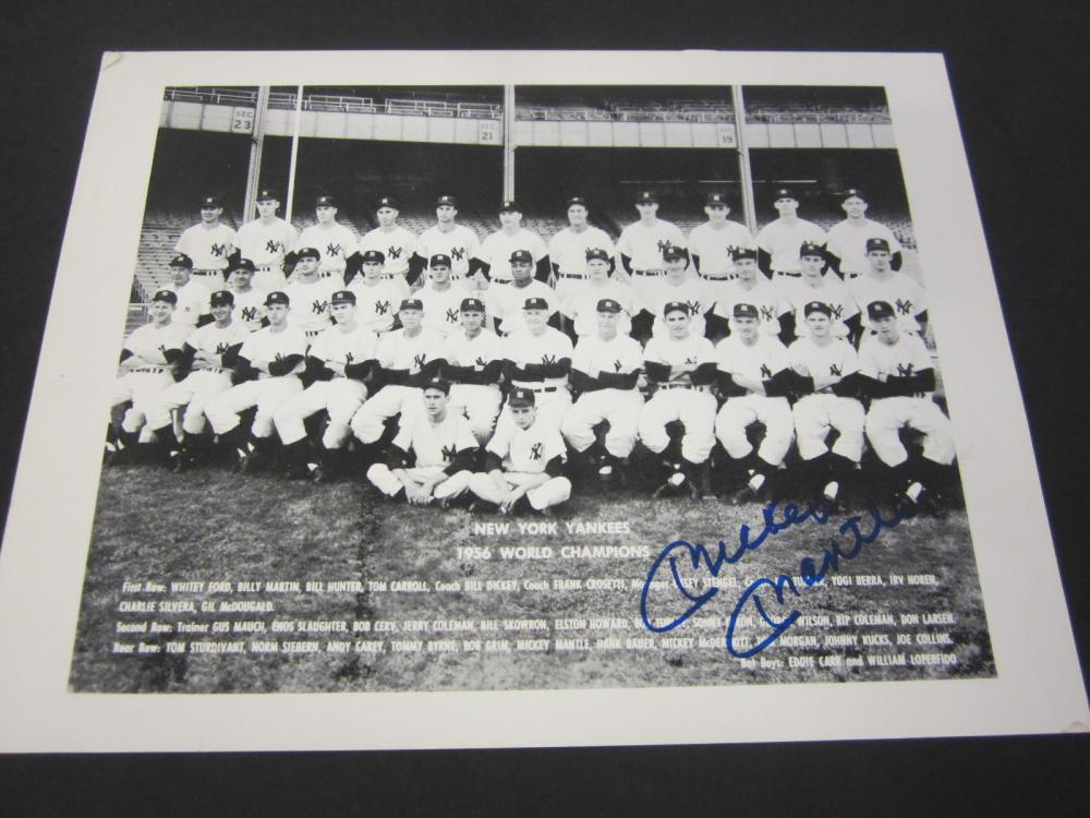 Mickey Mantle Yankees Signed 8x10 World Series Champs 1956 Certified Coa