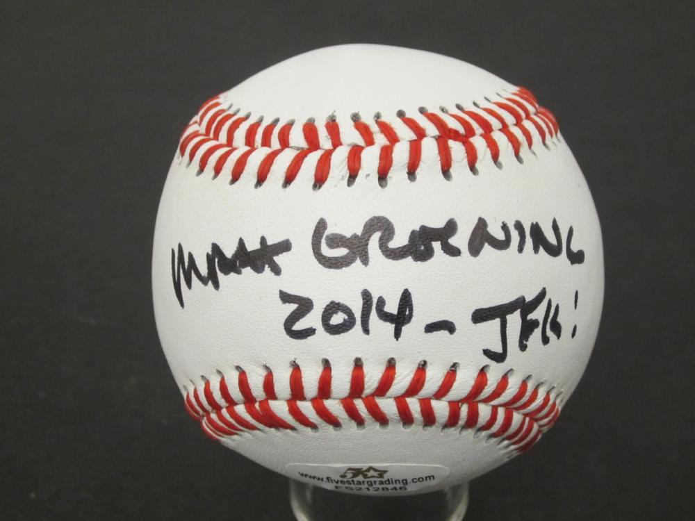"Matt Groening ""Simpsons"" 2014 Signed Autographed Rawlings baseball Certified Coa"