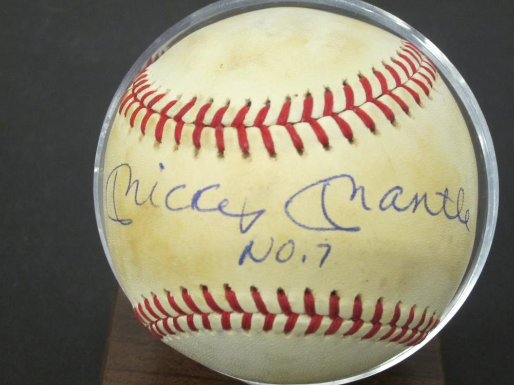 Mickey Mantle Yankees Signed Autographed OAL Baseball No. 7 inscript Certified Coa