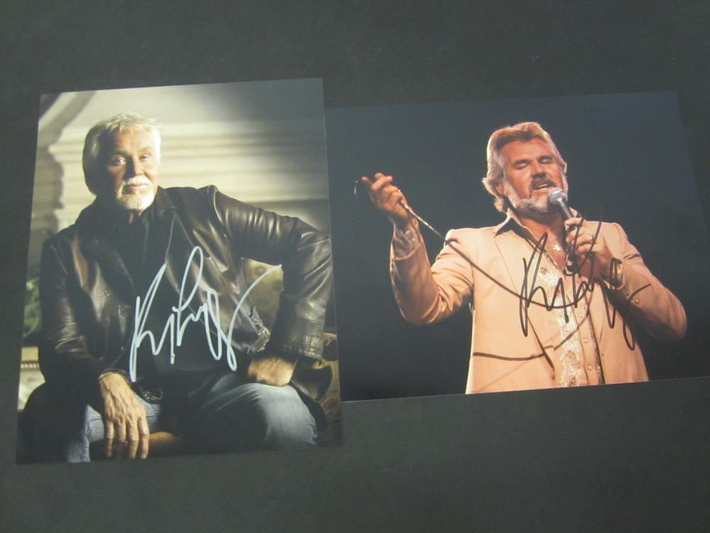 (2) Kenny Rogers Signed Autographed 8x10 photos Certified Coa