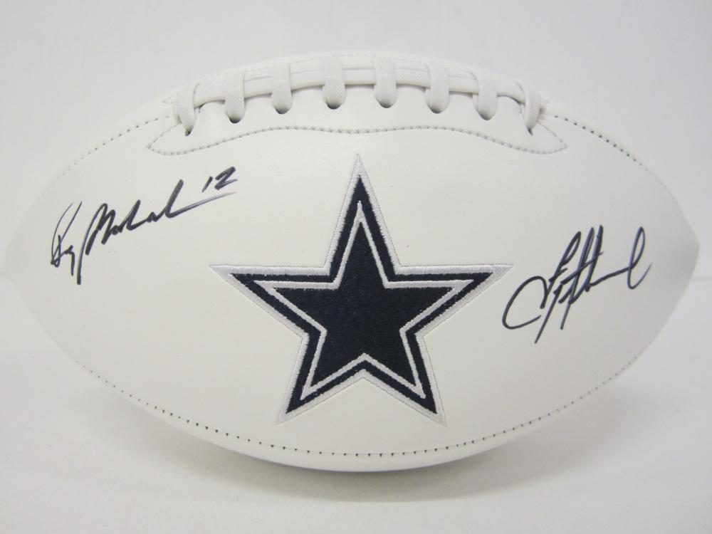 Troy Aikman Roger Staubach Dallas Cowboys Signed logo football Certified Coa