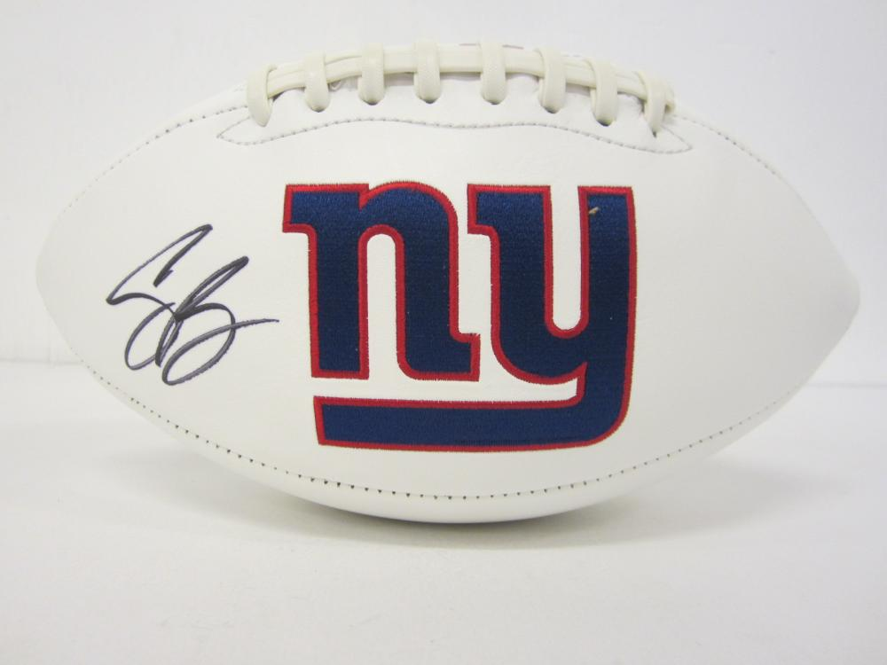 Saquon Barkley New York Giants Signed Autographed logo football Certified Coa