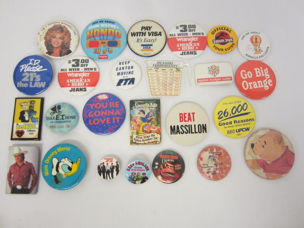 Vintage Lot of Buttons / pins Donald Duck Barbra Mandrell Donkey Kong Jurassic Park