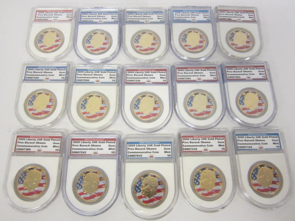 (15) Barack Obama 2009 Commemorative 24K Gold Plated Coin Gem Mint 10 graded