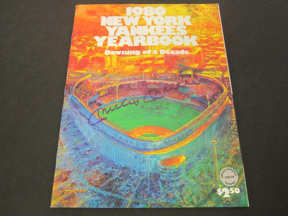 Mickey Mantle NY Yankees Signed Autographed 1980 Yearbook / Program Certified Coa