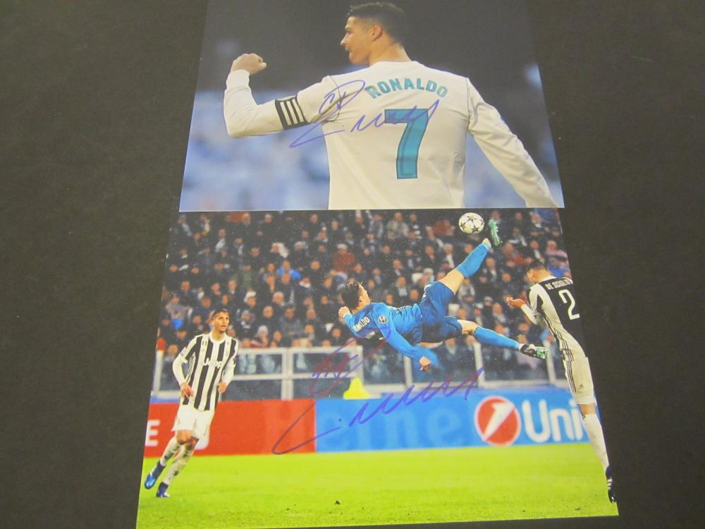 (2) Christian Ronaldo Signed Autographed 8x10 photos Certified Coa