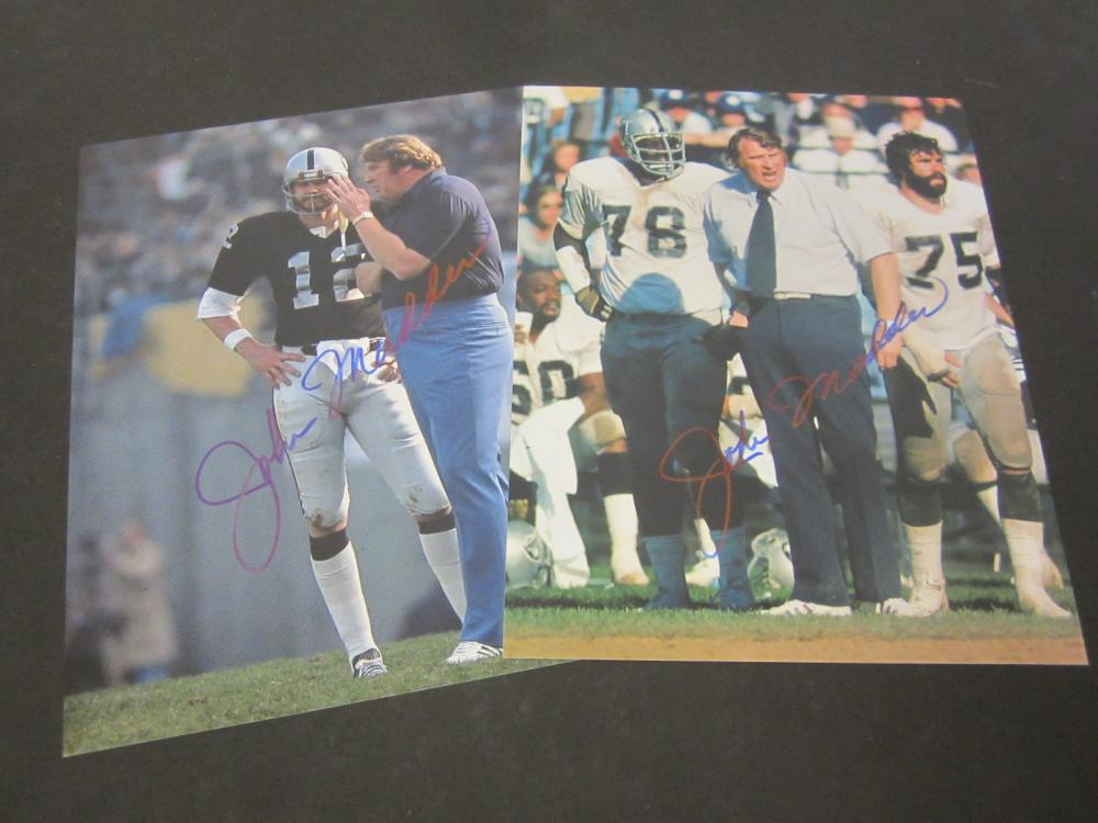 (2) John Madden Oakland Raiders Signed Autographed 8x10 photo Certified Coa
