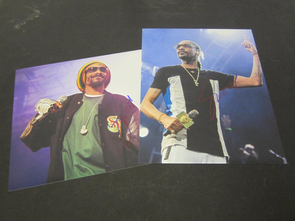(2) Snoop Dogg Signed Autographed 8x10 photo Certified Coa