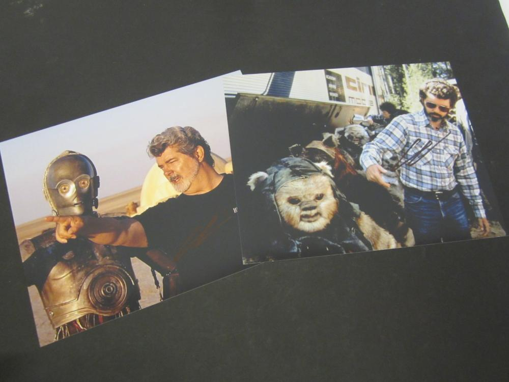 (2) George Lucas Star Wars Signed Autographed 8x10 photo Certified Coa