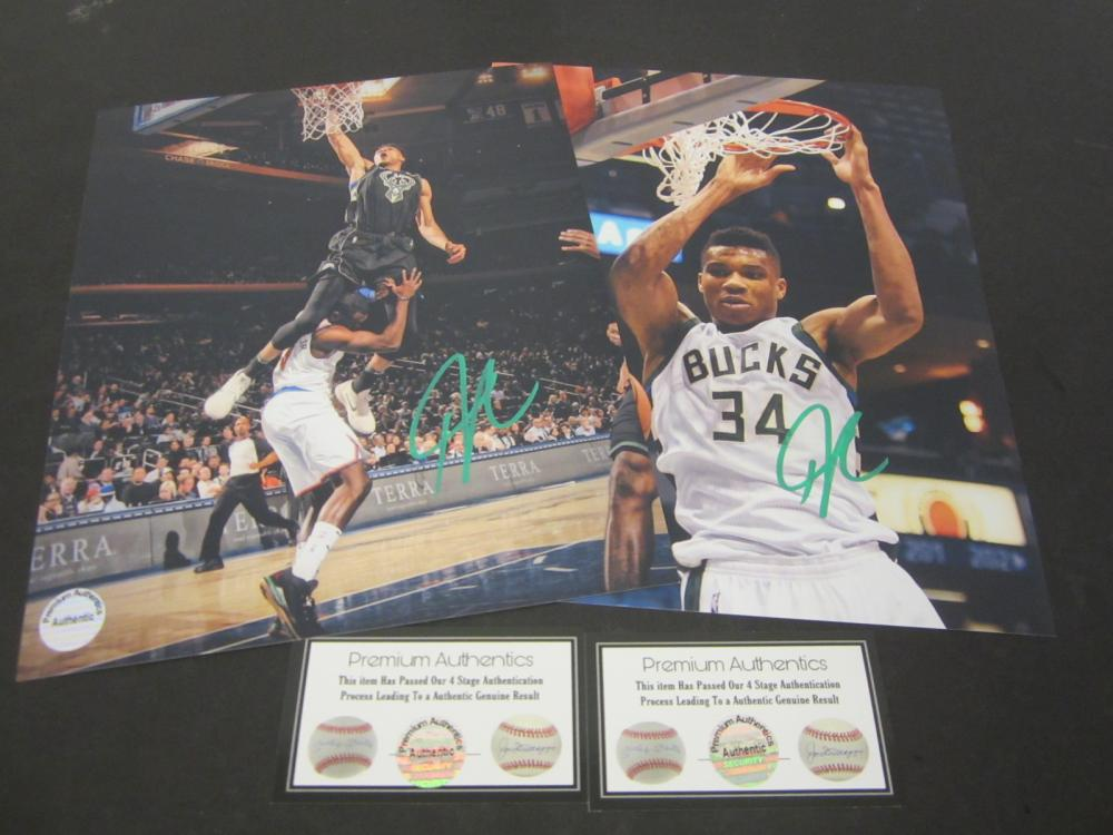 (2) Giannis Antetokounmpo Milwaukee Bucks Signed 8x10 photo Certified Coa