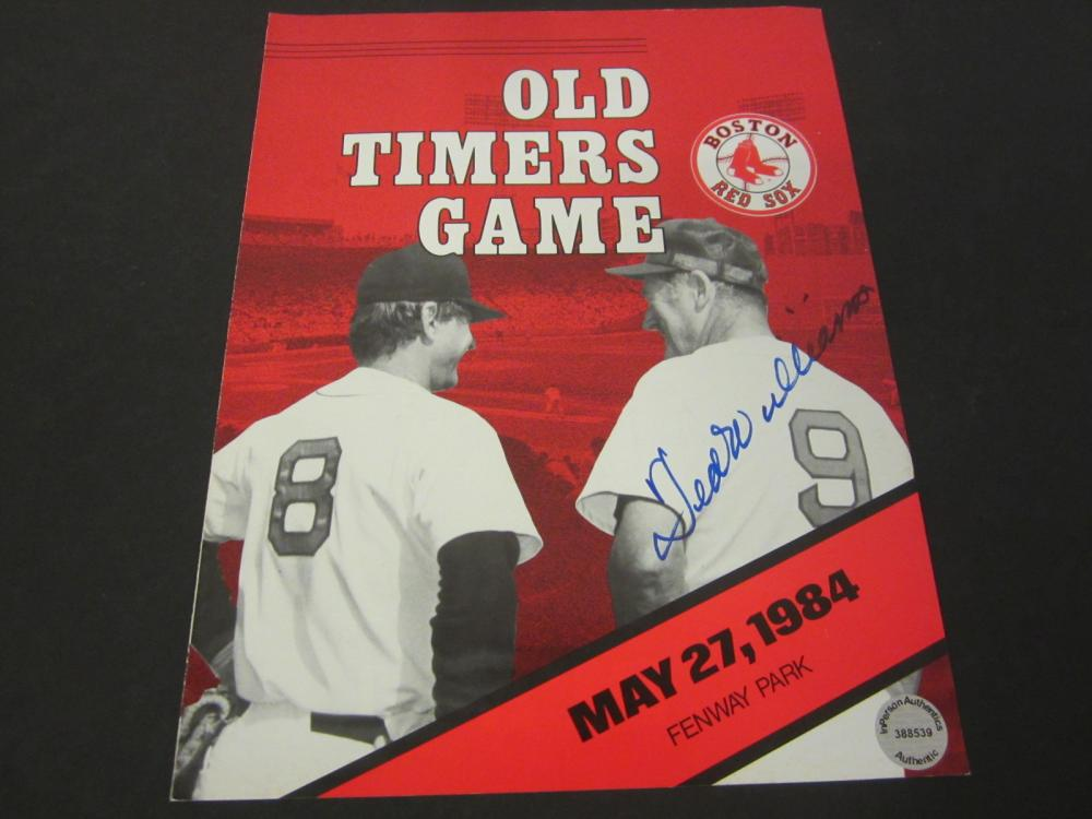 Ted Williams Boston Red Sox Signed Old Timers Game Program Certified Coa