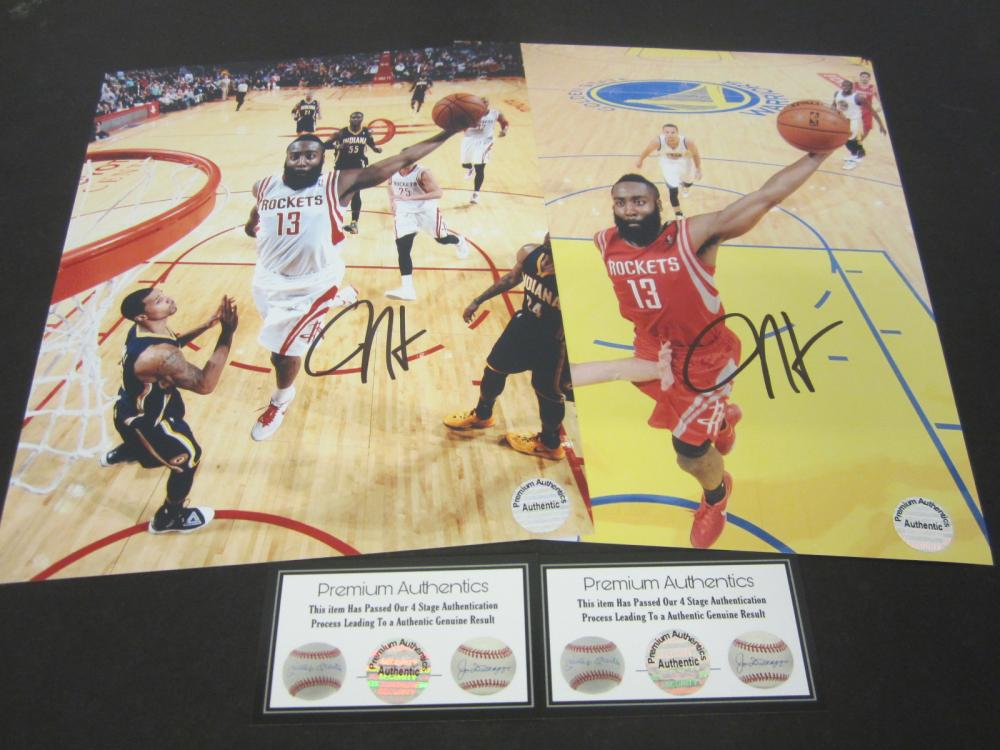 (2) James Harden Houston Rockets Signed Autographed 8x10 photo Certified Coa