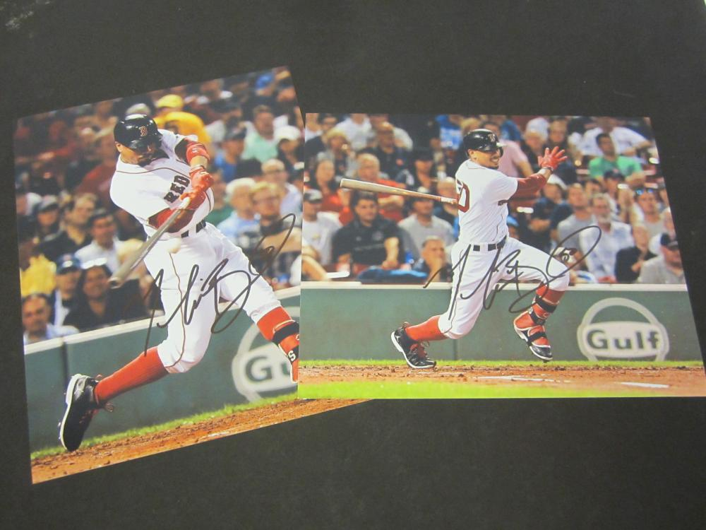 (2) Mookie Betts Boston Red Sox Signed Autographed 8x10 photo Certified Coa