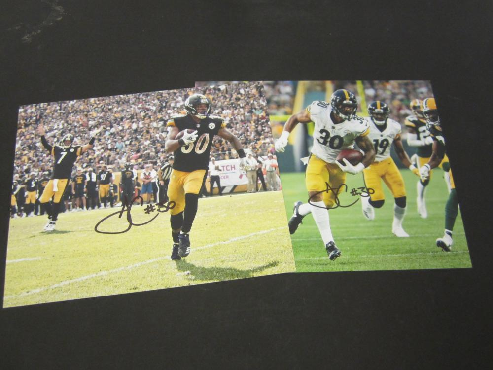 (2) James Connor Pittsburgh Steelers Signed Autographed 8x10 photo Certified Coa