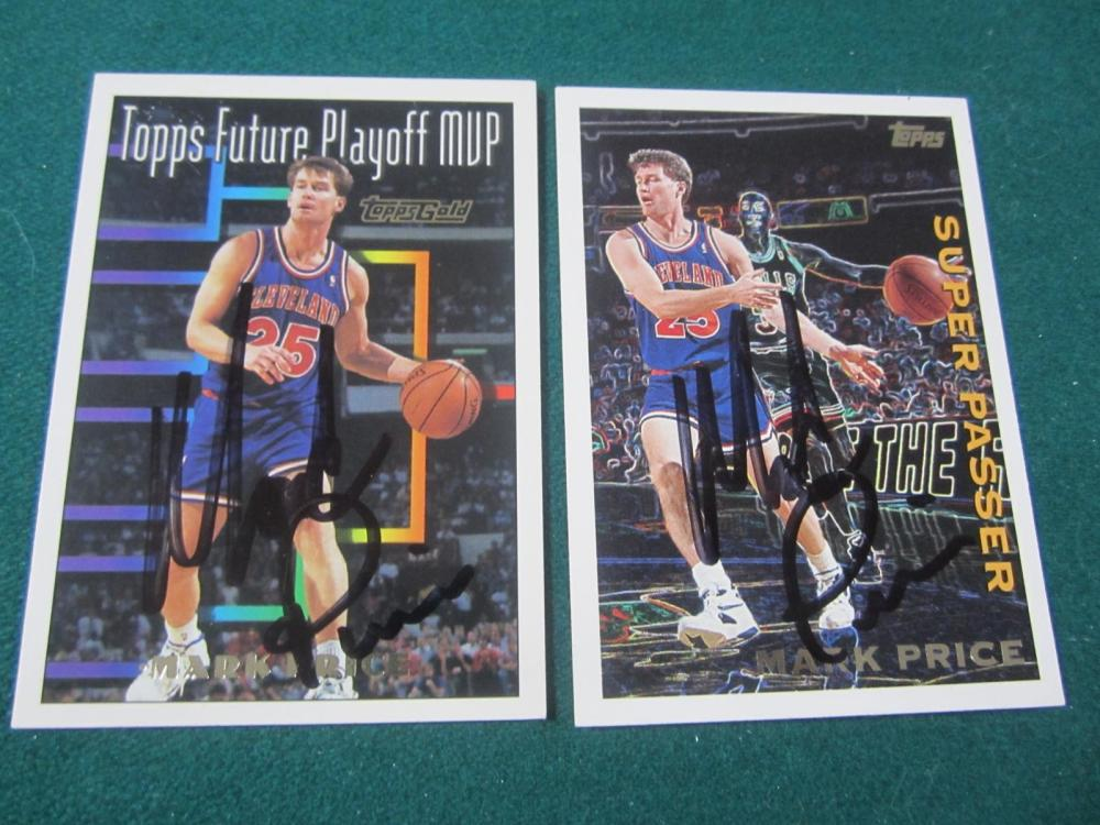 (2)MARK PRICE SIGNED AUTOGRAPHED CAVALIERS CARDS COA