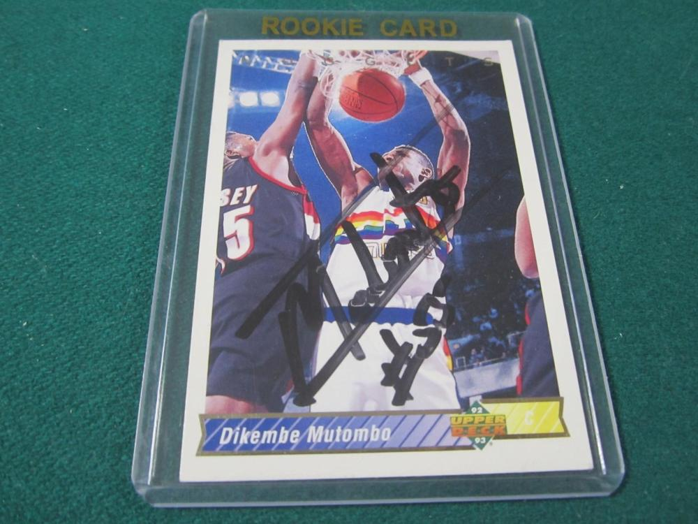 DIKEMBE MUTOMBO SIGNED AUTOGRAPHED NUGGETS CARD COA