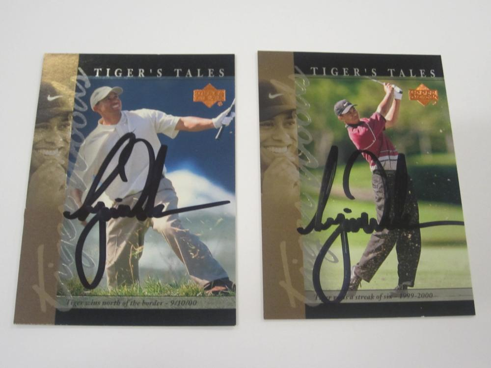 (2)TIGER WOODS SIGNED AUTOGRAPHED PGA GOLF CARDS COA