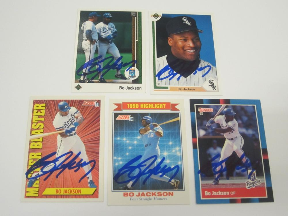 (5)BO JACKSON SIGNED AUTOGRAPHED BASEBALL CARDS COA