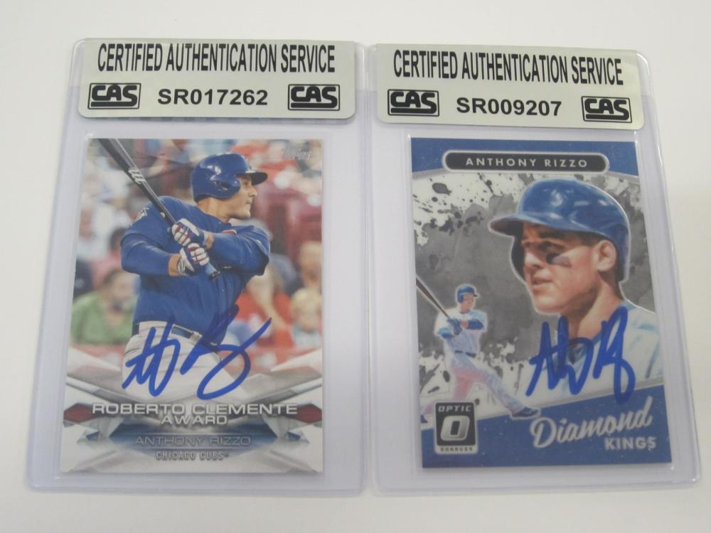 (2)ANTHONY RIZZO SIGNED AUTOGRAPHED CUBS CARDS CAS COA