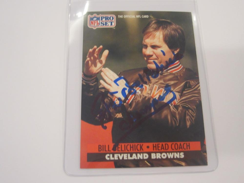 BILL BELICHICK SIGNED AUTOGRAPHED BROWNS CARD COA