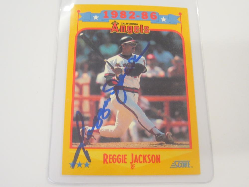 REGGIE JACKSON SIGNED AUTOGRAPHED ANGELS CARD COA