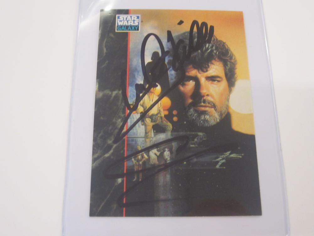 MARK HAMILL,GEORGE LUCAS DUAL SIGNED AUTOGRAPHED STAR WARS CARD COA