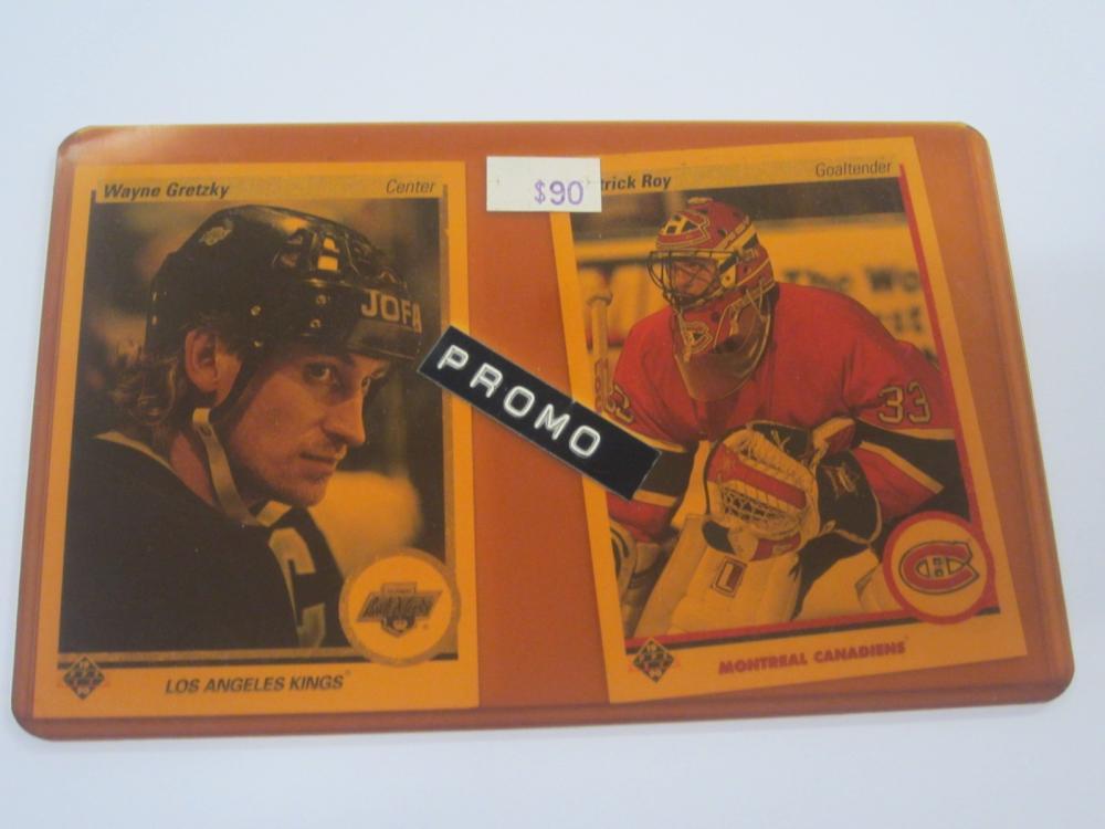 (2)1990 UPPERDECK HOCKEY GRETZKY,ROY PROMO CARDS