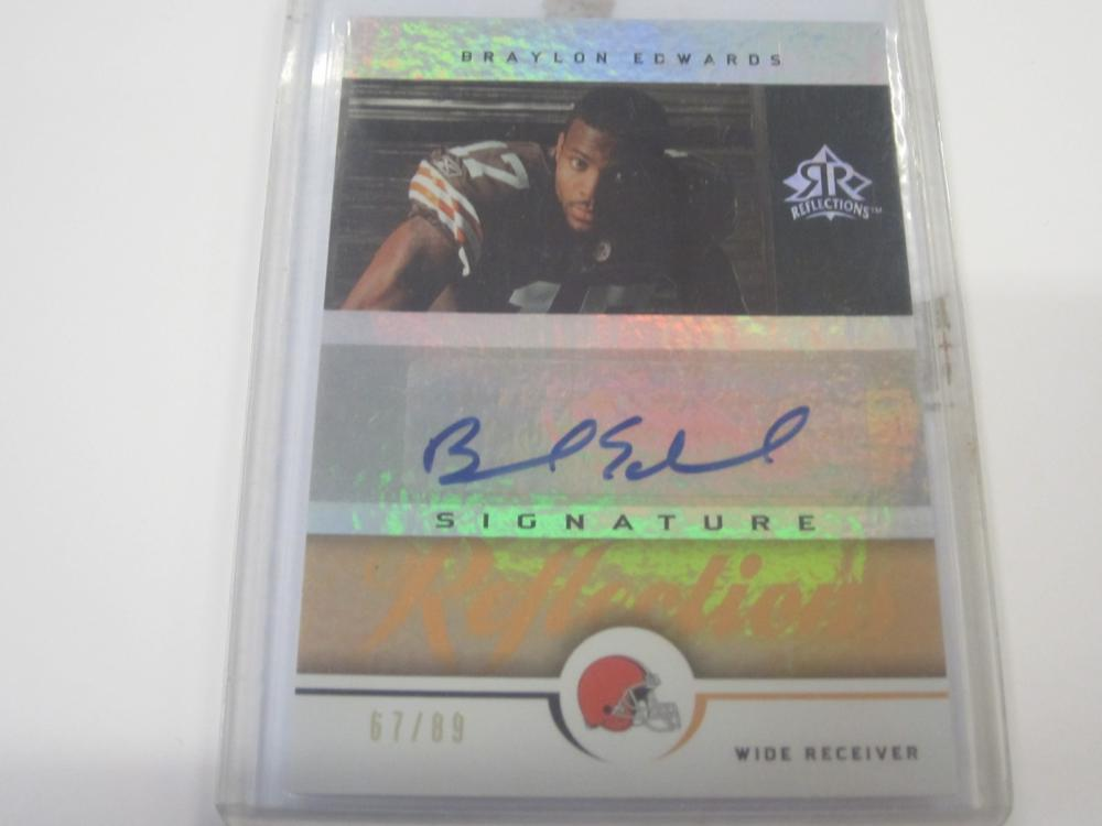 2005 UPPERDECK FOOTBALL BRAYLON EDWARDS SIGNED AUTOGRAPHED BROWNS CARD 67/89
