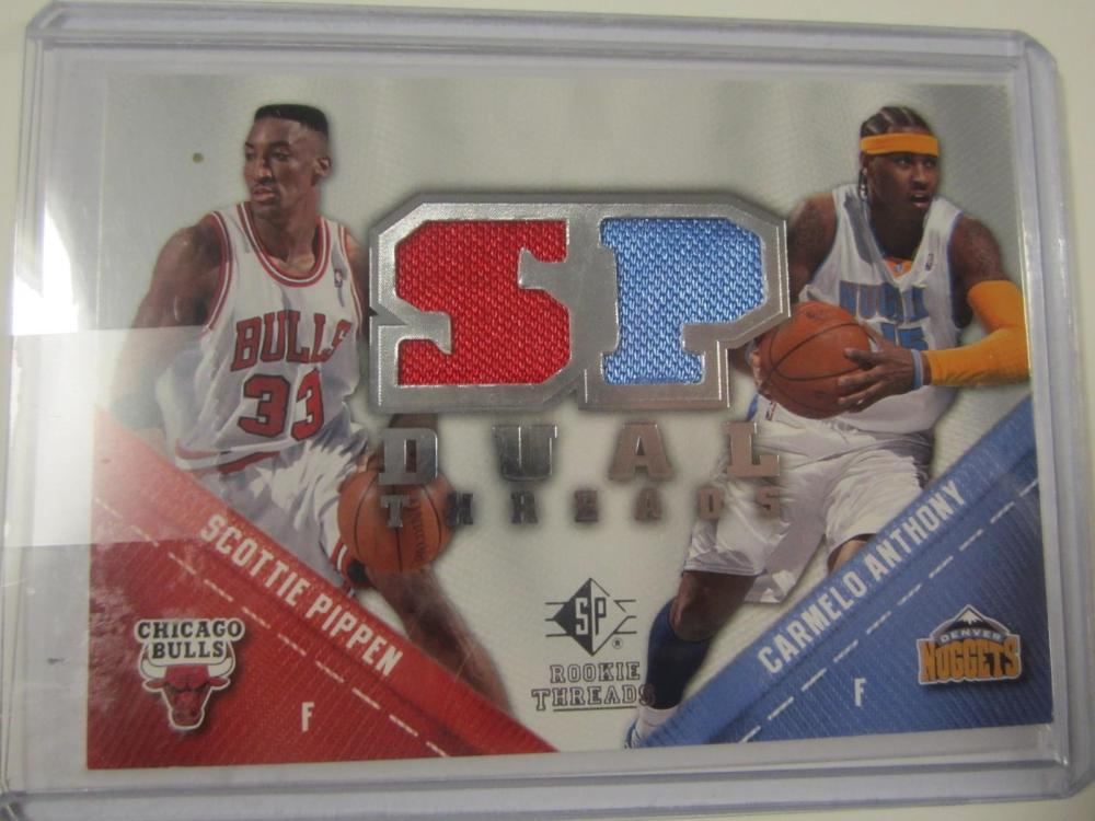 2008 UPPERDECK BASKETBALL SCOTTIE PIPPEN,CARMEL ANTHONY DUAL PIECE OF GAME USED JERSEY CARD