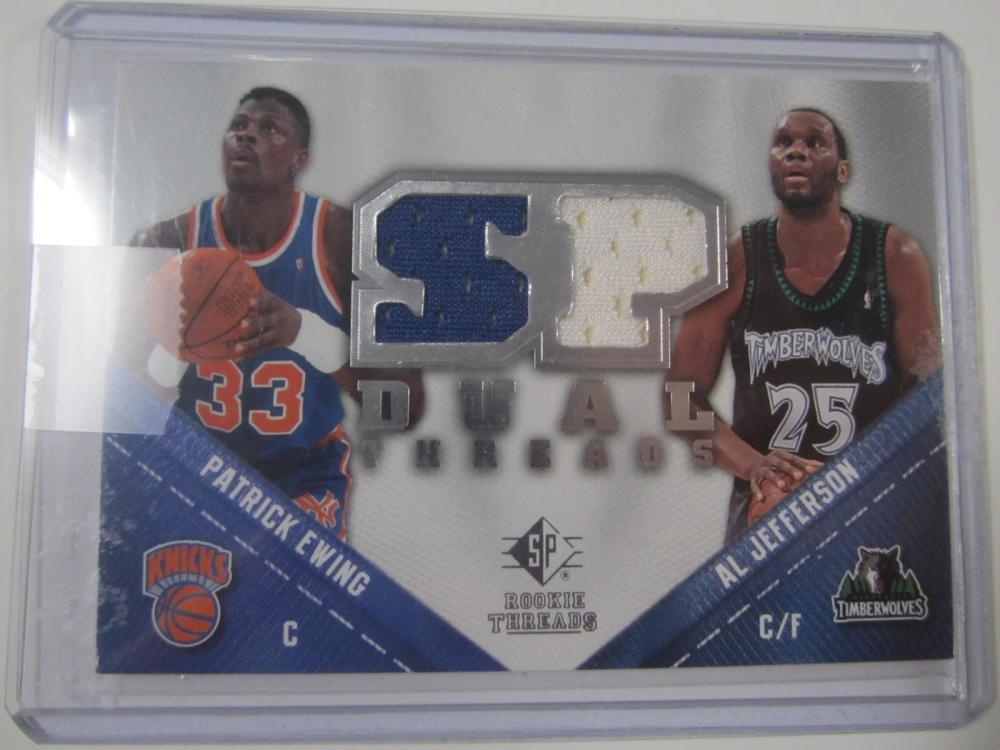 2008 UPPERDECK BASKETBALL PATRICK EWING,ALL JEFFERSON DUAL PIECE OF GAME USED JERSEY CARD