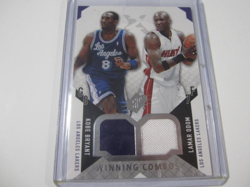 2004 UPPERDECK BASKETBALL KOBE BRYANT,LAMAR ODOM DUAL PIECE OF GAME USED LAKERS JERSEY CARD