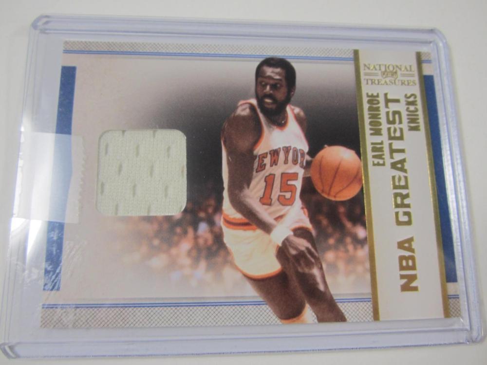 2010 PANINI BASKETBALL EARL MONROE PIECE OF GAME USED KNICKS JERSEY CARD