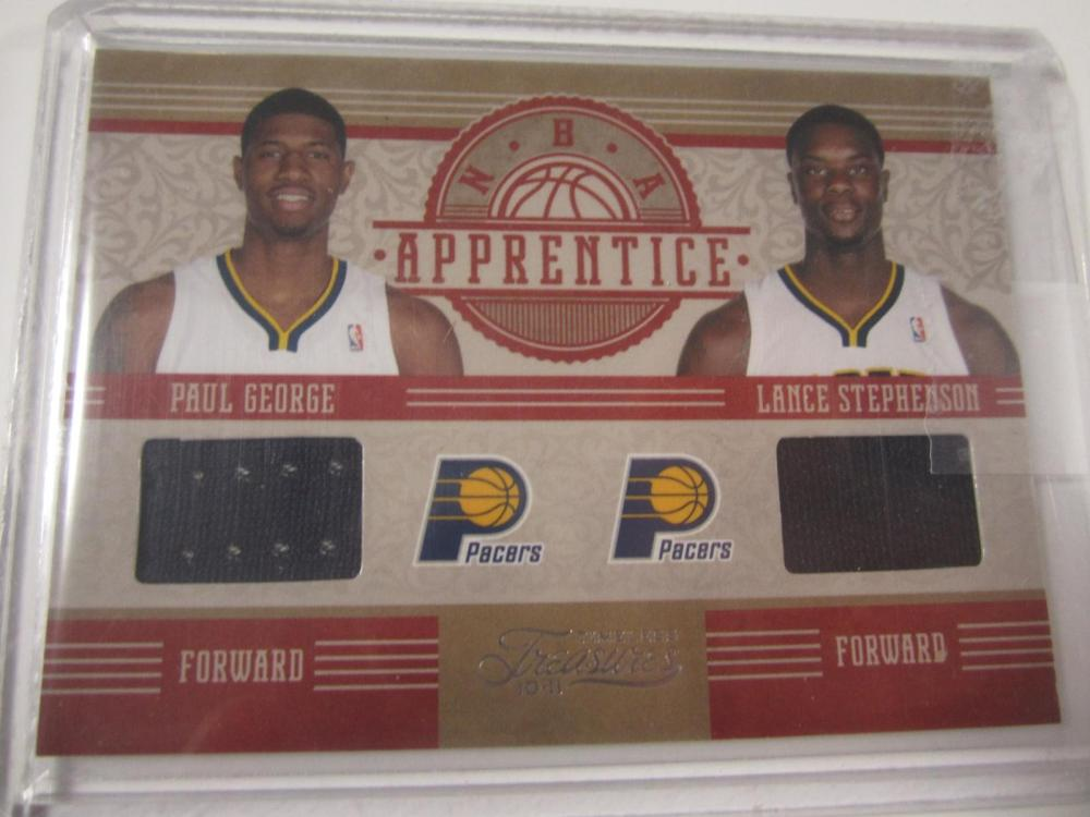 2010 PANINI BASKETBALL PAUL GEORGE,LANCE STEPHENSON DUAL PIECE OF GAME USED PACER JERSEY CARD