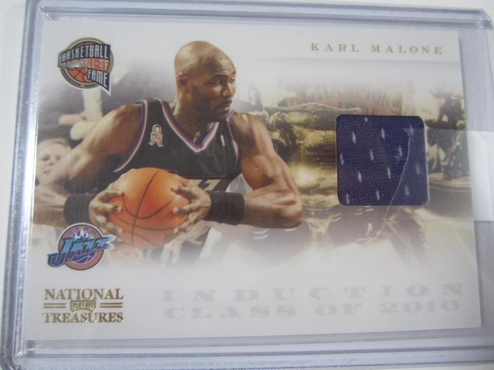 2011 PANINI BASKETBALL KARL MALONE PIECE OF GAME USED JAZZ JERSEY CARD