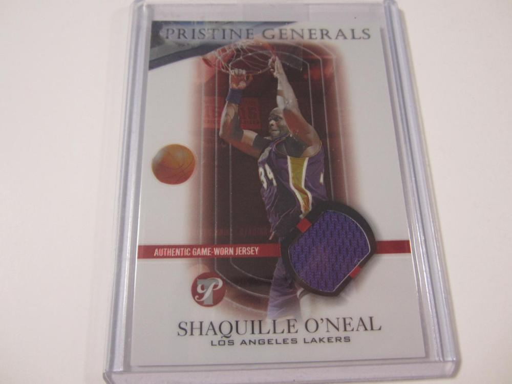 2003 TOPPS BASKETBALL SHAQ PIECE OF GAME USED LAKERS JERSEY CARD