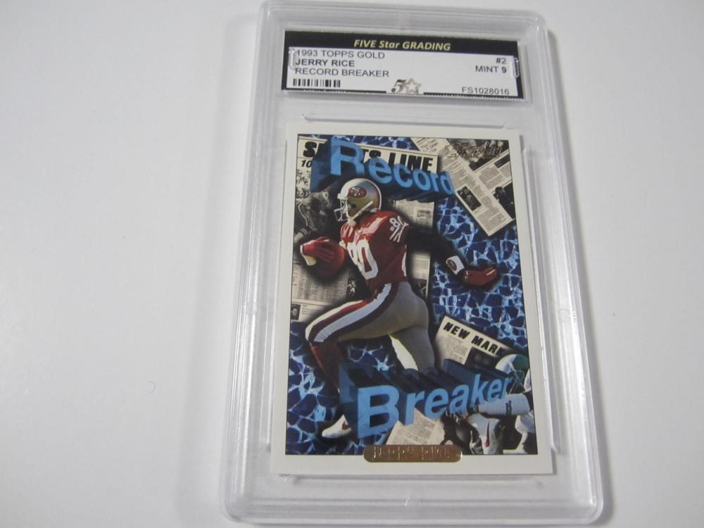 Jerry Rice 1993 Topps Gold Record Breaker Mint 9 Five Star Grading