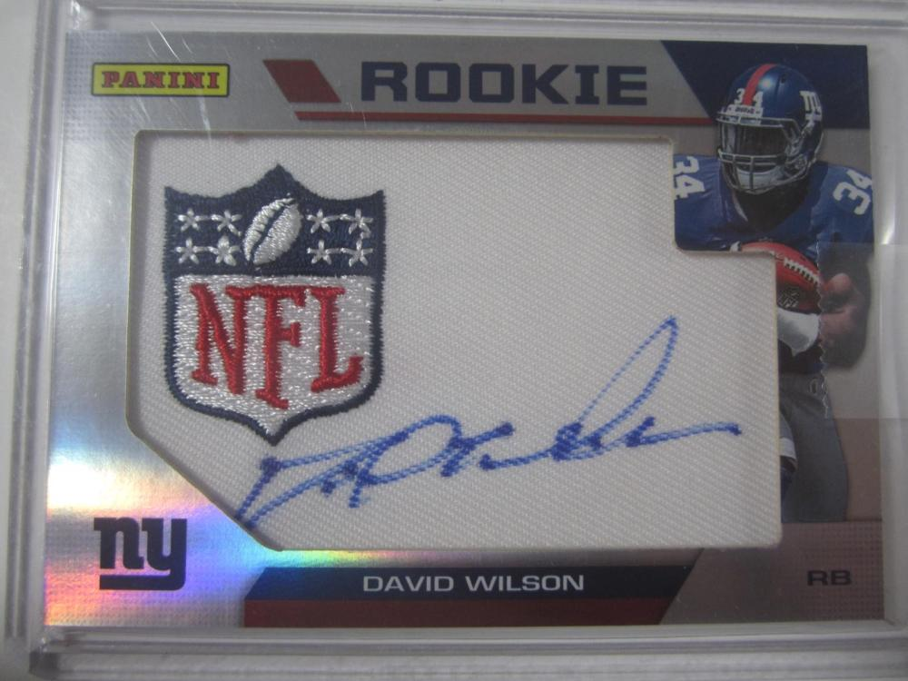 David Wilson New York Giants Hand Signed Autographed Piece of Jersey Rookie Card Certified