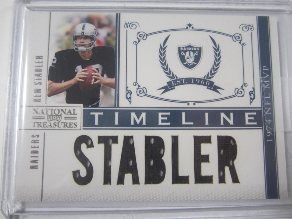Ken Stabler Raiders National Treasures Playoff 1974 NFL MVP Piece of Jersey Card